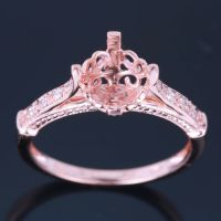 Solid 10K Rose Gold Pave Diamond Engagement Semi Mount ...