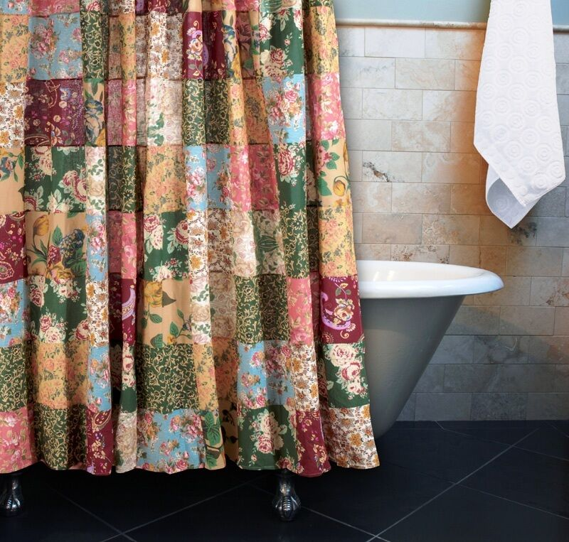 ANTIQUE COUNTRY PATCHWORK SHOWER CURTAIN  BLUE RED COTTAGE FLORAL 100 COTTON  eBay