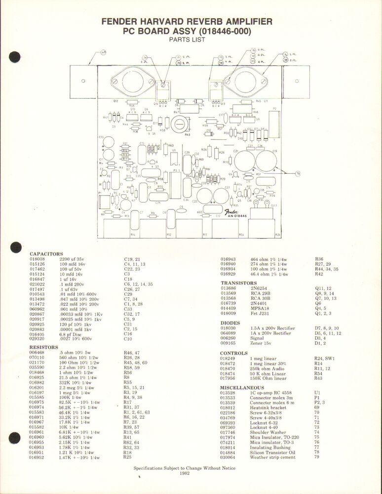 MISC-2033 1980s FENDER HARVARD REVERB AMPLIFIER PARTS LIST