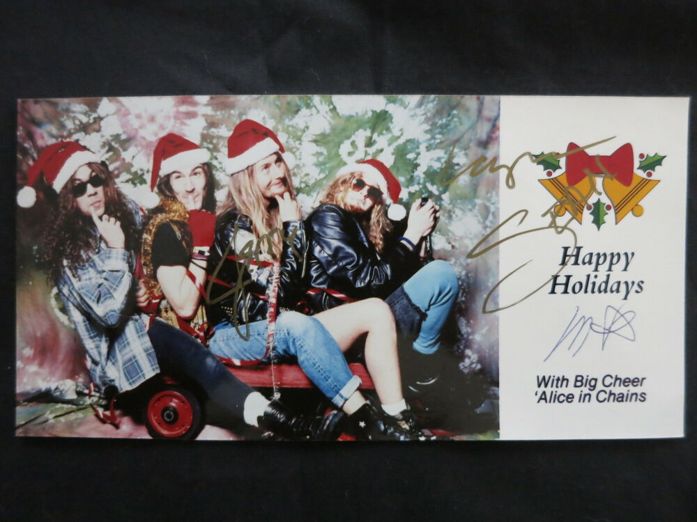 ALICE IN CHAINS SIGNED CHRISTMAS CARD BY ALL 4 ORIGINAL