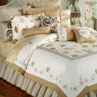 TREASURES BY THE SEA TAUPE Full / Queen QUILT SET : TAN ...