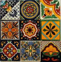 W140 - 9 Mexican Talavera Tiles Ceramic Folk Art Wall ...