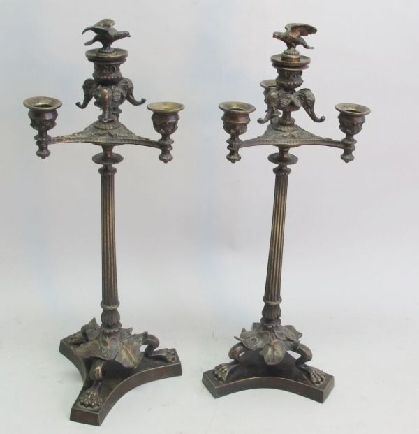 Fine Pair Of Antique French Neoclassical Bronze Four-light