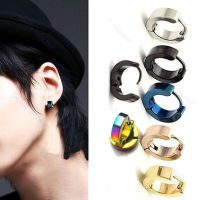 2pc Punk Mens Women Stainless Steel Hoop Huggies Ear Stud
