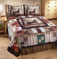 WHITETAIL LODGE Full Queen QUILT SET : CABIN BEAR MOOSE ...