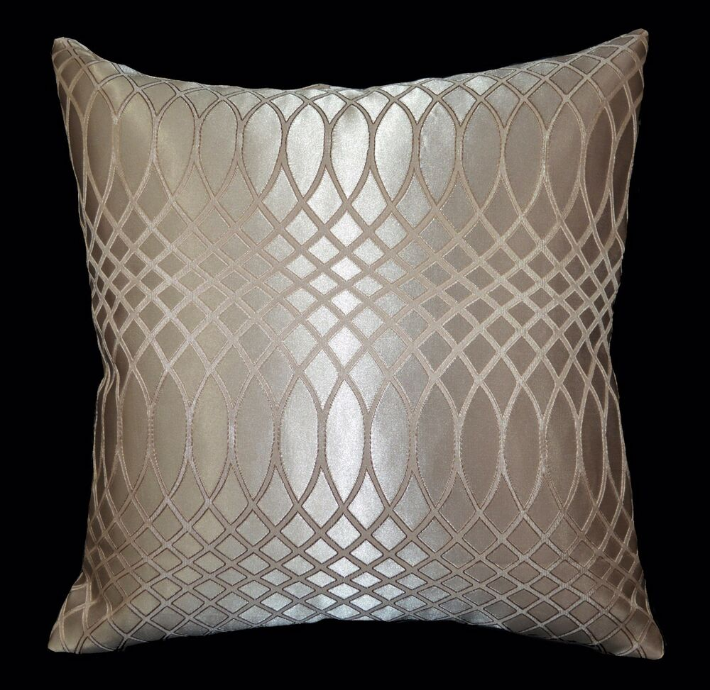 HC352a Tan Pale Tan Gold Wave Jacquard Cushion Cover