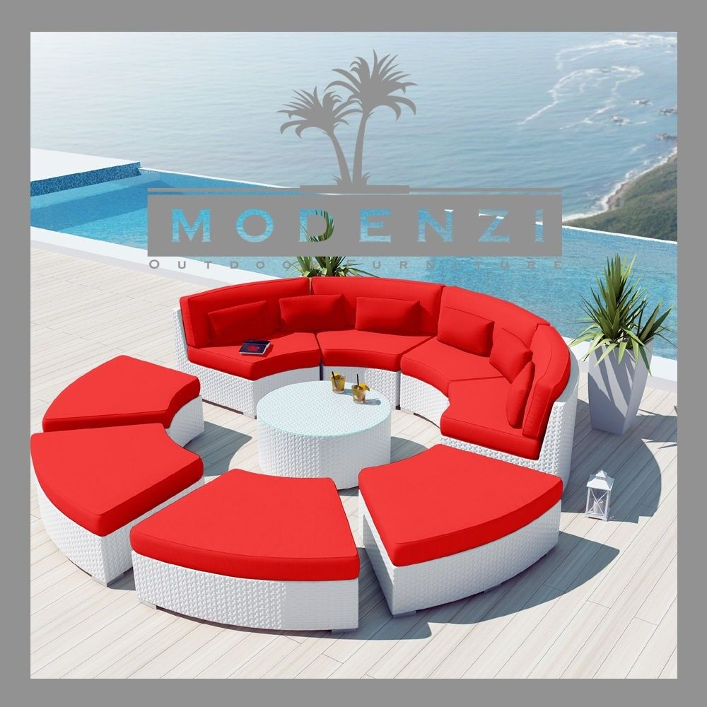 wicker lounge chair high computer modenzi deluxe 9r white outdoor sofa patio furniture set couch | ebay