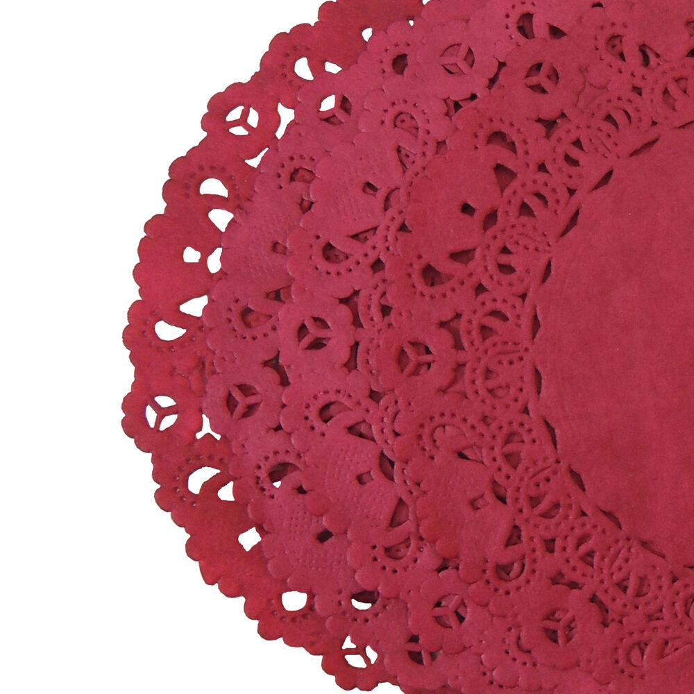 CARDINAL RED Colored PAPER LACE DOILIES 4 6 8 10 12