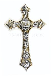 Silver Decorative Fleur De Lis Wall Cross Rustic White