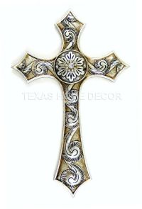 Silver Decorative Fleur De Lis Wall Cross Rustic White ...