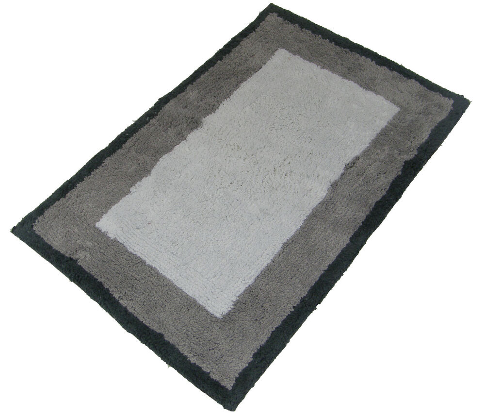 LUXURIOUS 100 SOFT COTTON FLUFFY WHITE TAUPE RUG BATHROOM