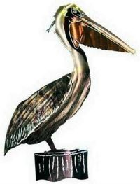 LARGE METAL 3-D PELICAN WALL HANGING - WALL ART ...