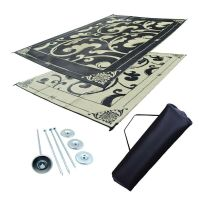 RV Patio Mat Awning Mat Outdoor Reversible Rug Beige/Black ...