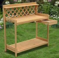 Wood Planter Potting Bench Outdoor Garden Planting Work