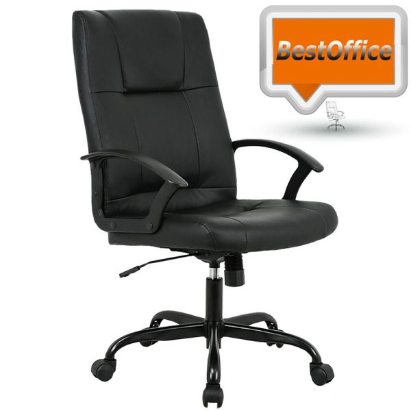 leather office chair Black PU Leather High Back Office Chair Executive Best Desk Task Chair T41 | eBay