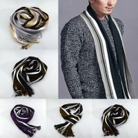 Fashion Korean Men's Winter Stripe Scarf Soft Cashmere ...