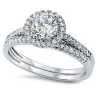 Round Halo Cz Wedding Set .925 Sterling Silver Ring Sizes
