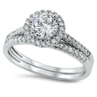 Round Halo Cz Wedding Set .925 Sterling Silver Ring Sizes ...