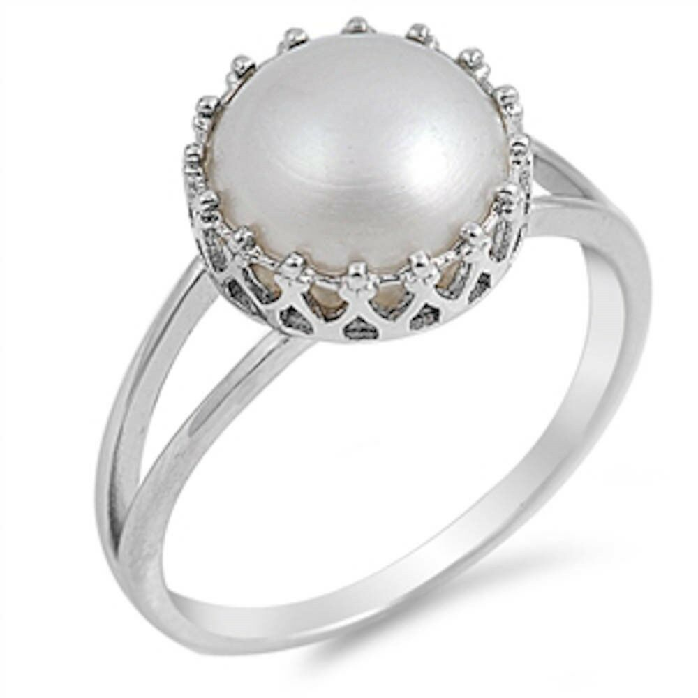 Crown White Pearl 925 Sterling Silver Ring Sizes 411  eBay