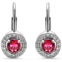 Halo Ruby & Cz .925 Sterling Silver Earrings