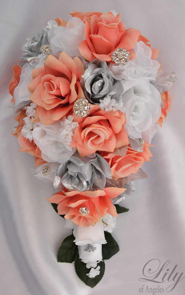 17 Piece Package Silk Flower Wedding Bridal Bouquet Cascade CORAL SILVER WHITE  eBay