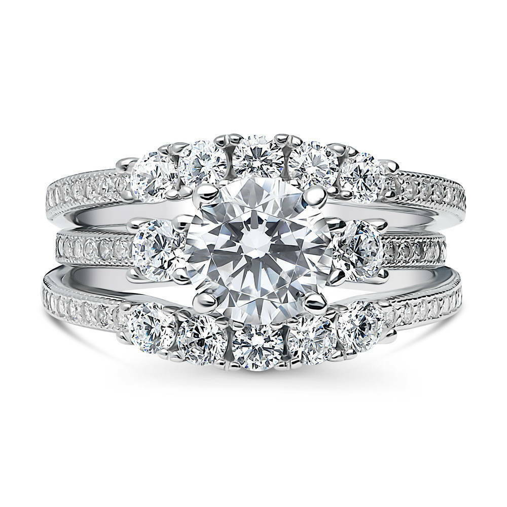 Berricle Sterling Silver Round Cz 3stone 5stone