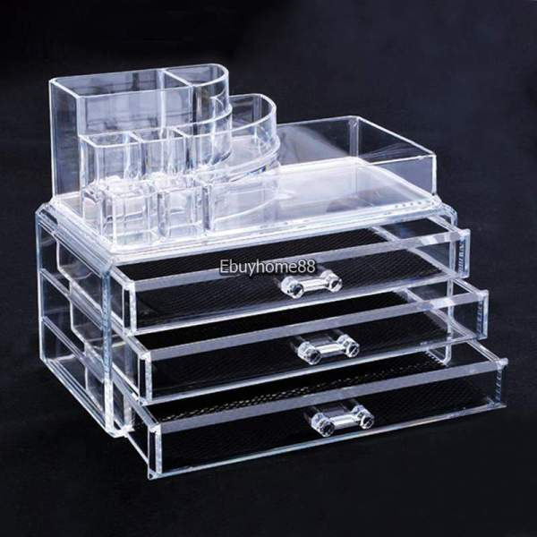 Makeup Cosmetics Organizer Clear Acrylic Grids Display Box Storage With 3 Drawers