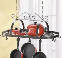 Wrought Iron Hanging Pots and Pans Kitchen Rack Holder NEW ...