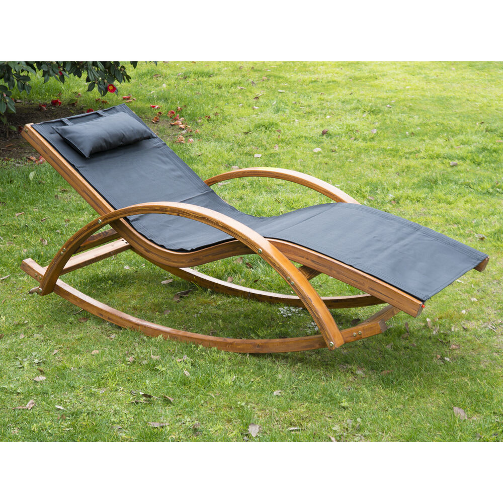 itm outsunny outdoor rocking mesh recliner reclining wooden patio lounger w cushion