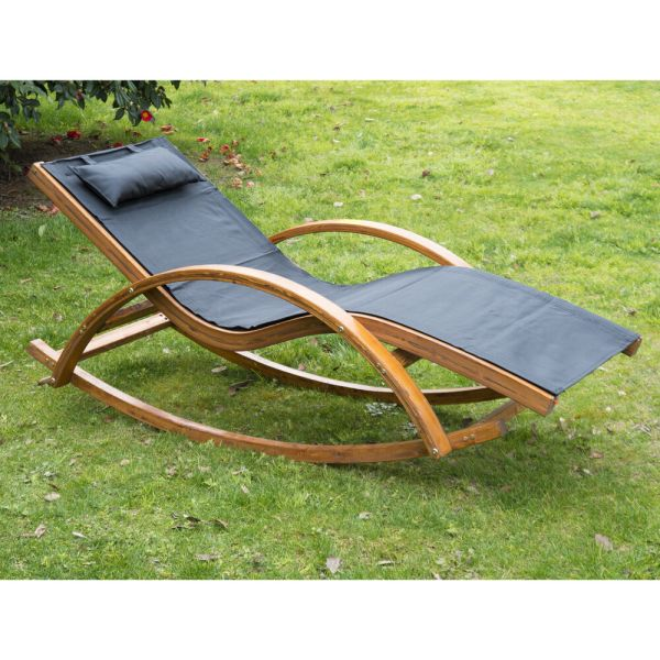 Outsunny Outdoor Rocking Mesh Recliner Reclining Wooden Patio Lounger With Cushion