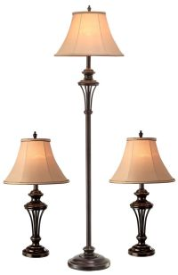 NormandeLighting 3 Piece Table and Floor Lamp Set