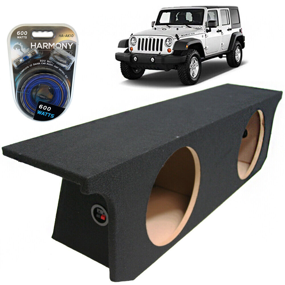 hight resolution of details about 07 13 jeep wrangler 4 door unlimited dual 12 custom subwoofer sub box amp kit
