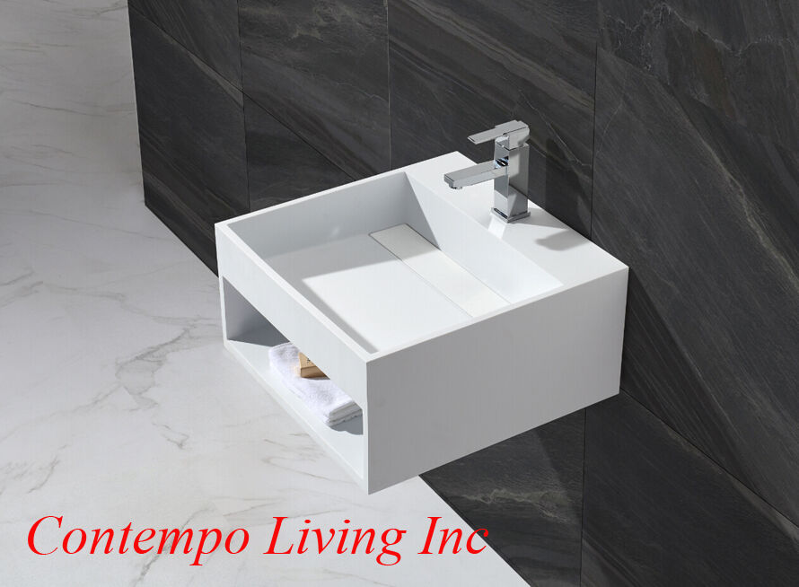 20-Inch Stone Resin Solid Surface Square Shape Bathroom