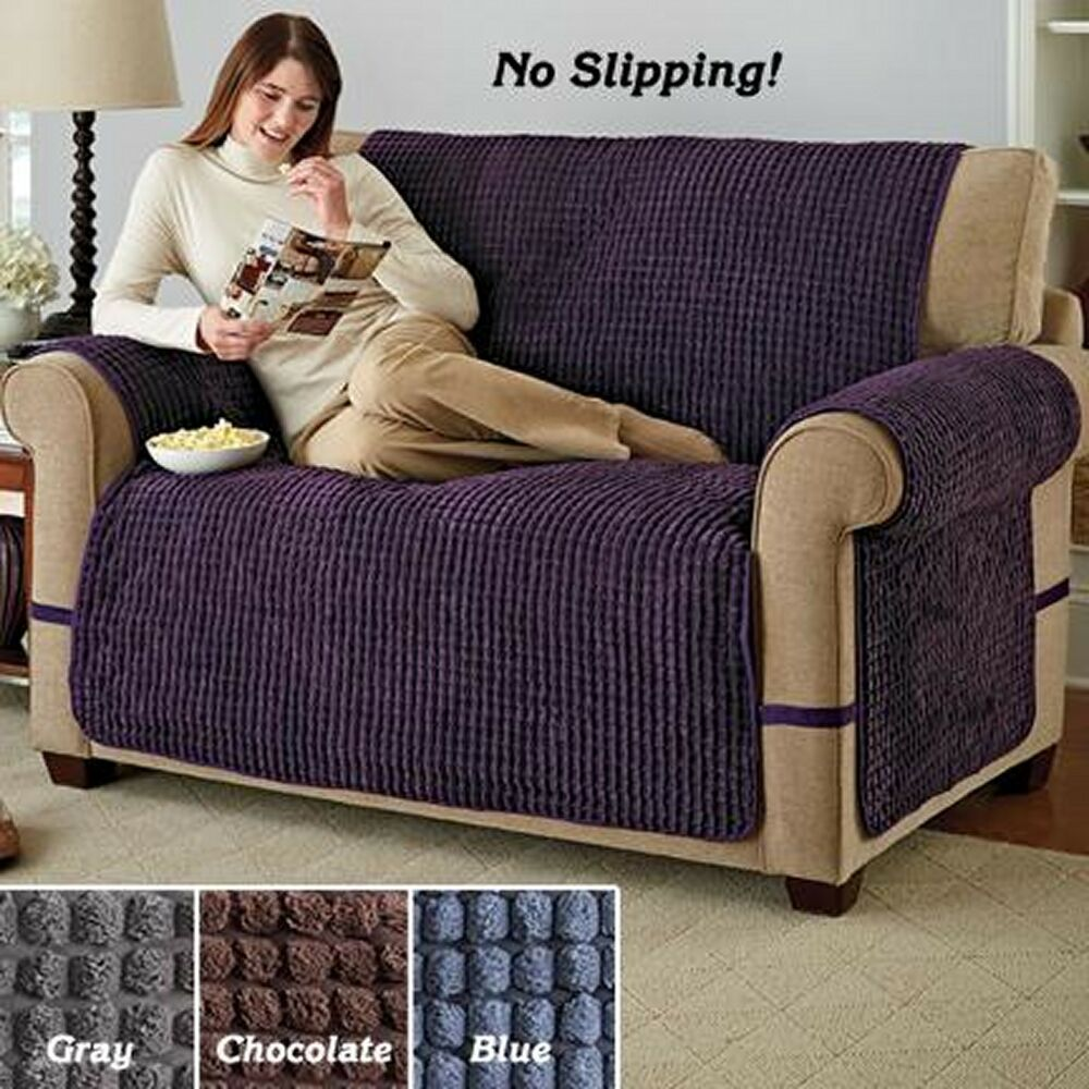 blue recliner chair covers exercises for elderly with pictures sofa - ultimate puff plush furniture protector pet dog kids slip cover | ebay