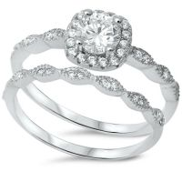Sterling Silver .925 CZ Halo Round Antique Engagement Ring