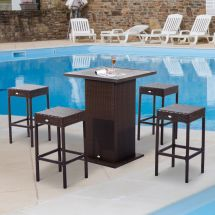 5pc Rattan Wicker Bar Set Outdoor Dining Table Stools