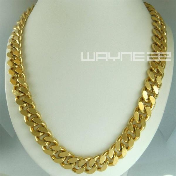 18k Gold Filled Mens Solid Heavy Chain Long Necklace Curb