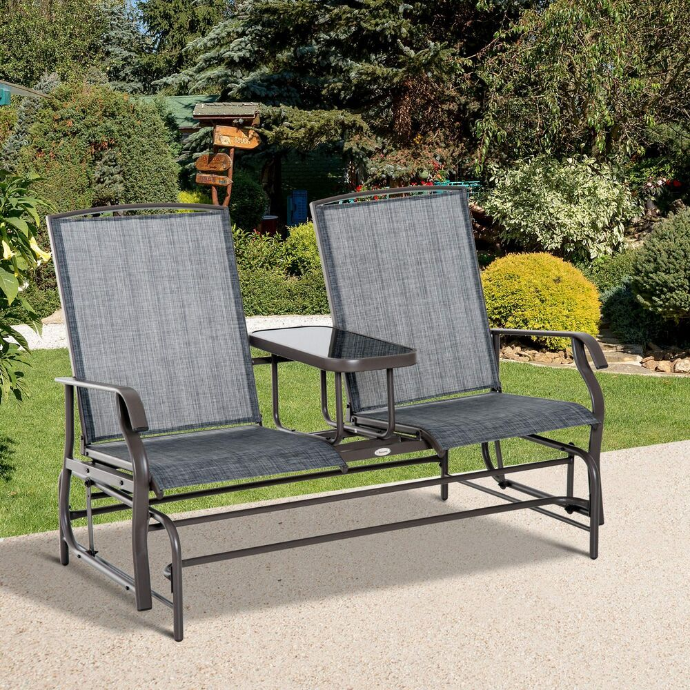 Outsunny 2 Seater Patio Glider Rocking Chair Metal Swing