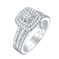 Bridal Round White CZ 925 Sterling Silver Wedding ...