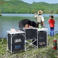 Camping Kitchen Picnic Cabinet Table Portable Folding ...
