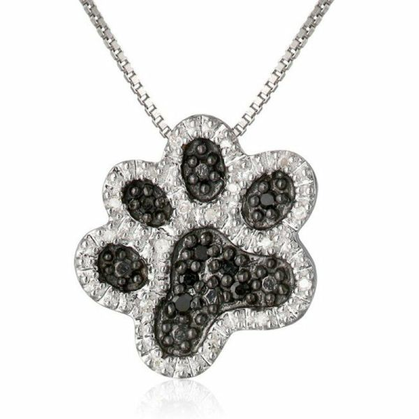 Dog Paw Black Diamond Sterling Silver Necklaces