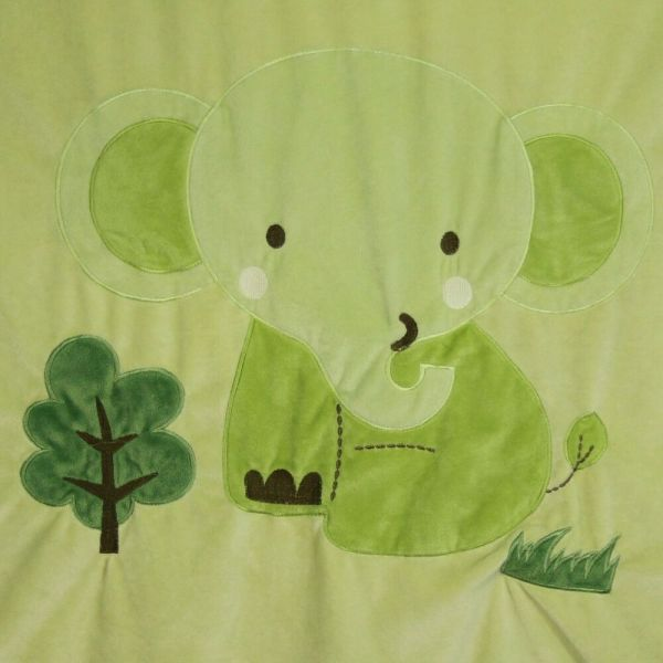 Tiddliwinks Elephant Blanket Green Brown Baby Crib