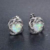 Sweet Four Claw White Fire Opal Stud Earrings Women's