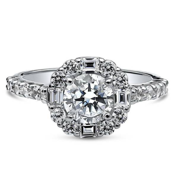 Silver Cubic Zirconia Cz Vintage Style Art Deco Halo Engagement Ring 1.96 Ct