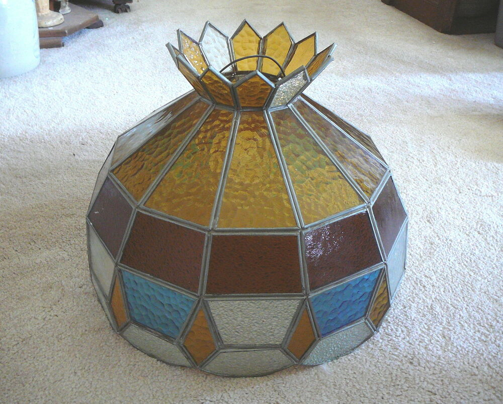 VINTAGE LEADED STAINED GLASS LAMP LIGHT SHADE With CROWN 155 AMBER BLUE CLEAR EBay