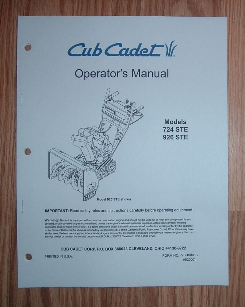 hight resolution of details about cub cadet 724 ste snow thrower operator s manual with illustrated parts list