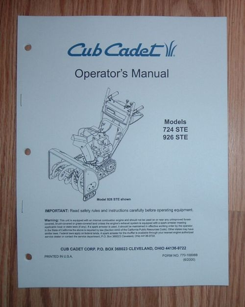 small resolution of details about cub cadet 724 ste snow thrower operator s manual with illustrated parts list