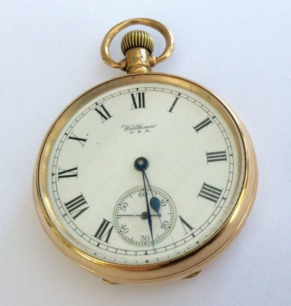 1924 Full Size Antique Solid 9ct Gold Waltham Pocket Watch