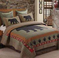 BLACK BEAR PAW Full Queen QUILT SET : LODGE CABIN COUNTRY ...