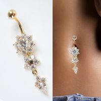 Beauty Crystal Flower Dangle Navel Belly Button Ring Bar ...